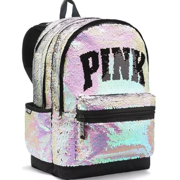 7fba470974 Iridescent Reversible Bling Backpack VS Pink Bag